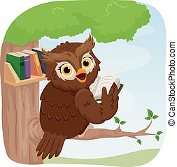 Owl Books - Illustration of an Owl Reading a Book While...