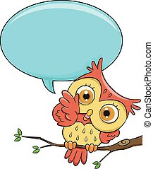Owl Speech Bubble - Illustration of a Cute Owl With a Blank...