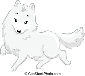Arctic Fox - Illustration of a Cute Arctic Fox Walking...