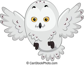 Snowy Owl - Illustration of a Snowy Owl in the Middle of...