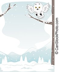 Snowy Owl - Illustration of a Snowy Owl Perched on a Snow...