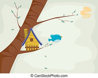 Bird House - Illustration of a Cute Little Bird Flying Out...