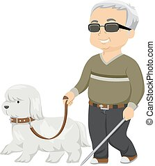 Guide Dog - Illustration of a Seeing Eye Dog Guiding a Blind...