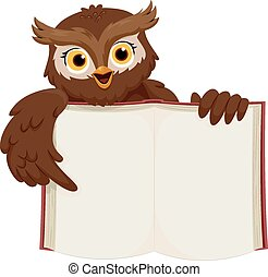 Open Book - Illustration of a Smiling Owl Pointing at an...