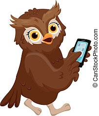 Owl Mobile Phone - Illustration of an Owl Pointing to His...