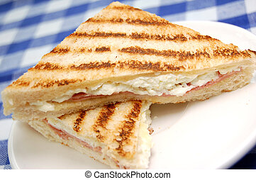 Grilled sandwich - Melted cheese grilled sandwich with ham