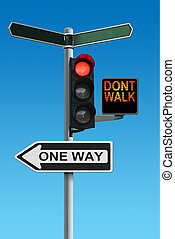 Traffic Lights with Dont Walk and One Way Signs