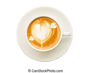 heart drawing on cup of coffee isolated on white background...