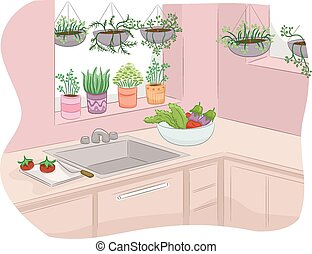 Kitchen Garden - Illustration of a Kitchen Decorated with...