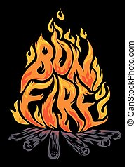 Bon Fire - Typographic Illustration of Fiery Flames Arranged...