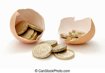 Nestegg - Coins emerge from cracked egg
