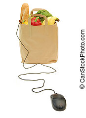 Online grocery shopping - Computer mouse attached to a bag...
