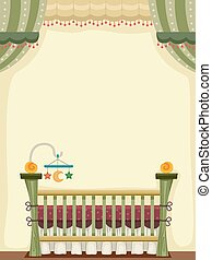 Vintage Crib - Illustration of a Vintage Crib Decorated With...