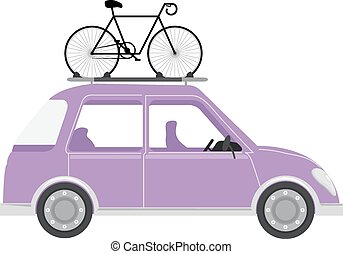 Car Bicycle - Illustration of a Car with a Bicycle Mounted...