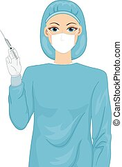 Female Doctor - Illustration of a Female Surgeon in a Scrub...