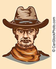 Cowboy - Vintage Illustration of a Man in Typical Cowboy...
