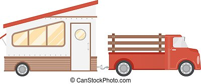 Trailer House - Illustration of a Trailer Home Being Pulled...