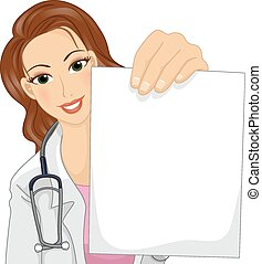 Doctor Paper - Illustration of a Female Doctor in a Lab Coat...
