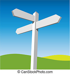 Sign Post - A Blank White Sign Post