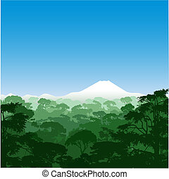 Forest Landscape - A Forest Landscape with Volcano
