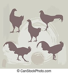 Hen and Rooster silhouette on grunge background vector...