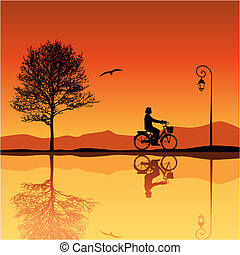 Landscape with Silhouettes - Landscape with Tree and Bicycle...