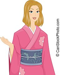 Girl in Kimono - Illustration of a Caucasian Woman Wearing a...