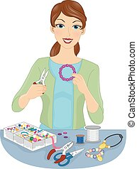 Jewelry Making - Illustration of a Woman Making Homemade...