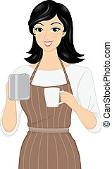 Barista - Illustration of a Female Barista Preparing a Cup...