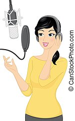 Recording - Illustration of a Woman Recording a Song in a...