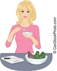 Eating Avocado - Illustration of a Woman Eating a Bowl of...