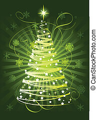 Christmas tree - Green Christmas tree on abstract background