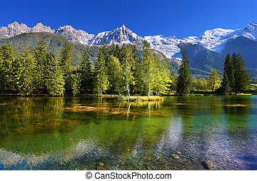 City park in the Alpine resort of Chamonix