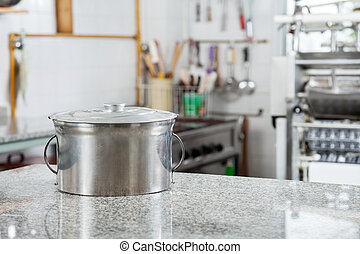 Pasta Pot On Countertop In Commercial Kitchen - Closed pasta...