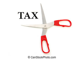 Tax cut - Getting ready to cut tax with a pair of scissors