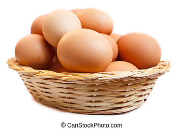 Eggs in wicker basket.  - fresh raw brown eggs in a basket.