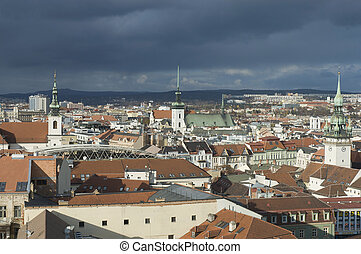 Brno skyline view from the Cathedral, Czech Republic