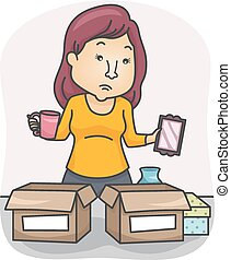Sorting Stuff - Illustration of a Woman Sorting Her...