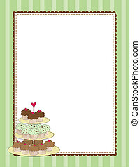 Cupcake Border Green - A striped border with a tiered tray...