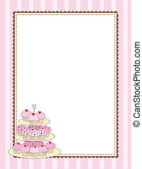 Cupcake Border Pink - A striped border with a tiered tray of...