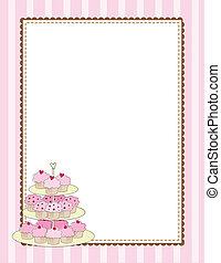 Cupcake, borda, Cor-de-rosa