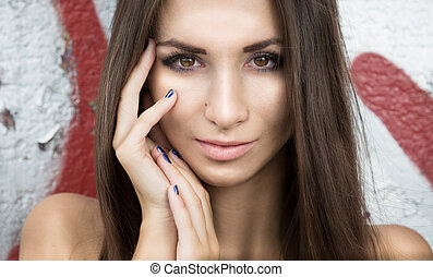 portrait of sexy brunette woman with perfect face looking at...