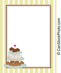 Cupcake Border Yellow - A striped border with a tiered tray...