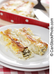 Cannelloni with ricotta cheese and spinach under bechamel...