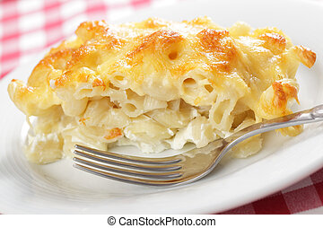 Macaroni cheese - Macaroni and cheese on the white plate...