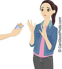 Refusing Cigarettes - Illustration of a Teenage Girl...