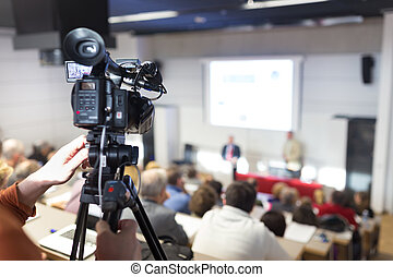 Television broadcasted press conference. - Business...