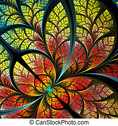 Fabulous fractal pattern in yellow and red. Collection -...
