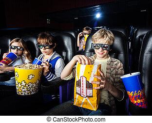 irmãs, tendo, Lanches, em, 3D, cinema, teatro,