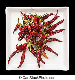 Red dry chillies in the white bowl